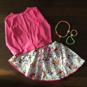 Handmade DISNEY Tsum skirt, pink top, jewelry 4 5